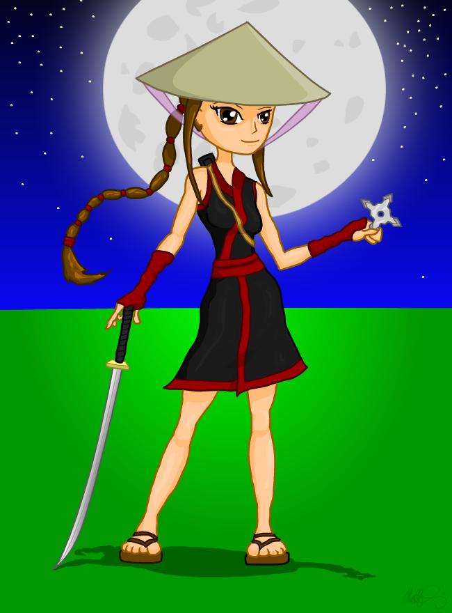 Ninja Girl - Yuko character posing